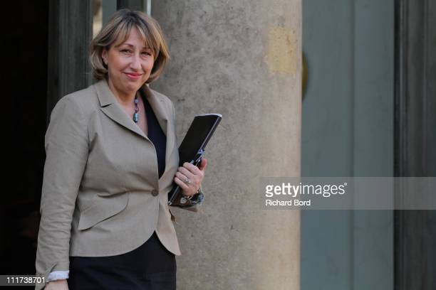French Minister to the Minister of Solidarity and Social Cohesion MarieAnne Montchamp leaves the weekly french cabinet meeting at Elysee Palace on...