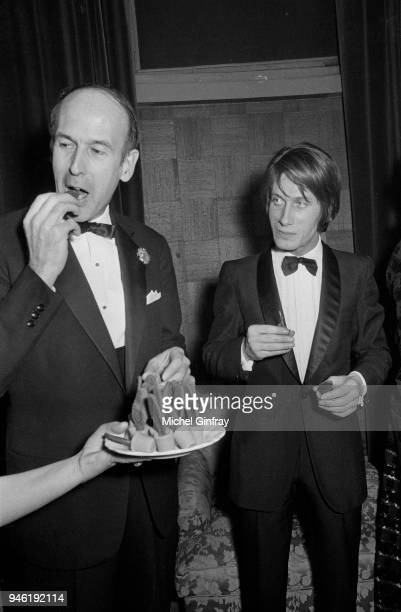 French minister Valery Giscard d'Estaing with french actor and singer Jacques Dutronc in Paris for a Gala of film Fleur de Cactus 18th december 1969