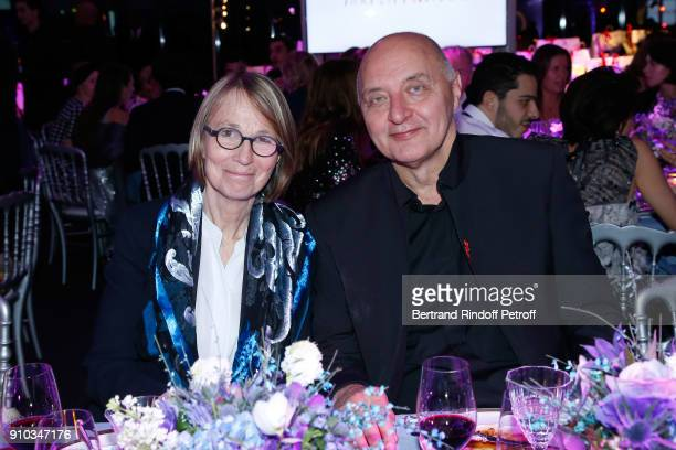 French Ministre of Culture Francoise Nyssen and Executive Chairman of the Federation of Haute Couture and Fashion Pascal Morand attend the 16th...