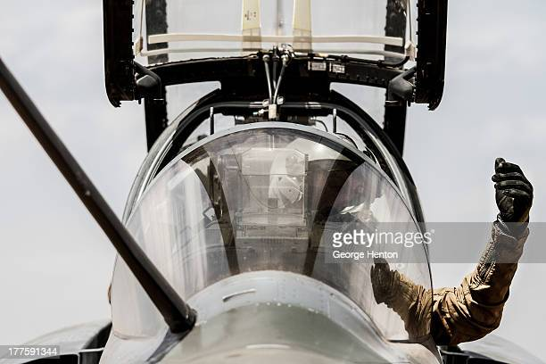 French Mirage 2000D pilot gestures to ground crew as he prepares his aircraft for a routine combat patrol leaving from Senou Airport, Bamako, Mali,...