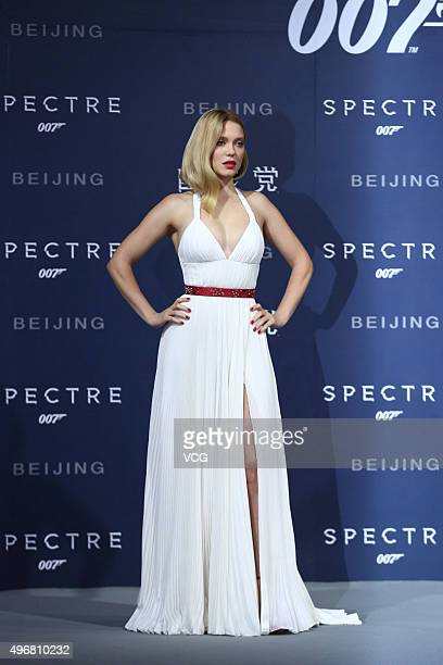 French model and actress Lea Seydoux attends premiere of new film 'Spectre' directed by British actor and director Sam Mendes on November 12 2015 in...
