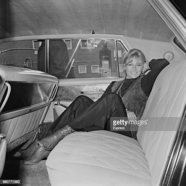 French model and actress Nathalie Delon sits in the back of a car at Heathrow Airport London UK 11th September 1969