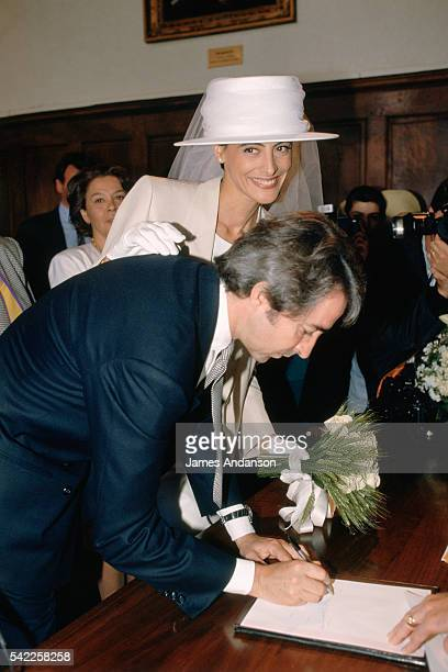 French model and fashion designer Ines de La Fressange and Luigi d'Urso in the town hall of Tarascon during their wedding ceremony After suffering a...