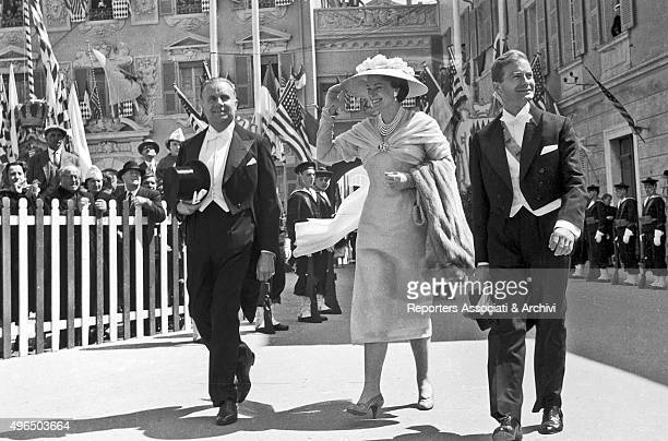 French model Begum Om Habibeh Aga Khan heading to Saint Nicholas Cathedral to attend the wedding of Rainier III Prince of Monaco and American actress...