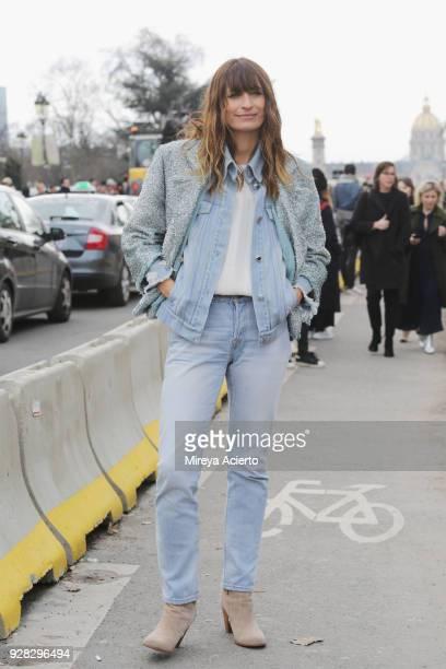 French model Caroline de Maigret seen at the Chanel fashion show during Paris Fashion Week Womenswear Fall/Winter 2018/2019 on March 6 2018 in Paris...
