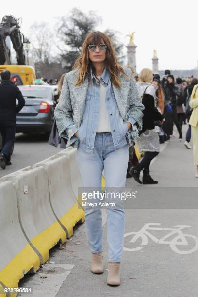 French model Caroline de Maigret seen at the Chanel fashion show during Paris Fashion Week Womenswear Fall/Winter 2018/2019 on March 6 2018 in Paris...