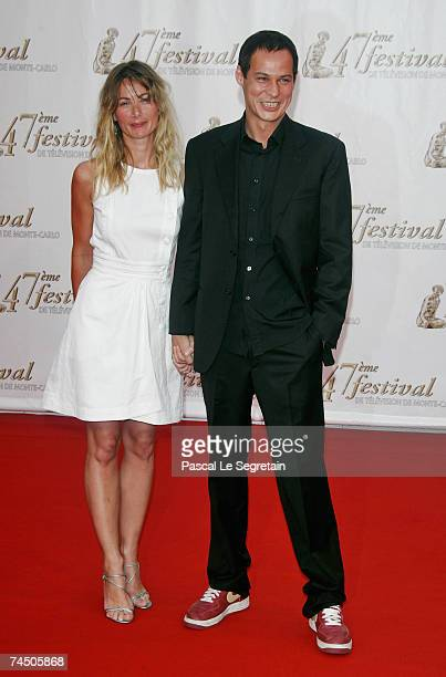 French model Celine Balitran and unidentified guest attend the opening night of the 2007 Monte Carlo Television Festival held at Grimaldi Forum on...