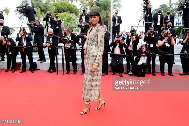 """French model Cindy Bruna arrives for the screening of the film """"Les Intranquilles """" at the 74th edition of the Cannes Film Festival in Cannes,..."""