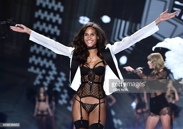 French model Cindy Bruna walks the runway during the 2014 Victoria's Secret Fashion Show at Earl's Court exhibition centre in London on December 2,...