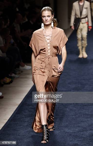detailing exquisite style fashion French model Constance Jablonski presents a creation for ...