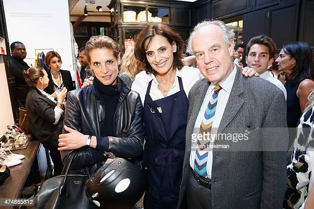 French model Ines de la Fressange attends her boutique opening with French actress Helene Fillieres and former Minister for Culture Frederic...