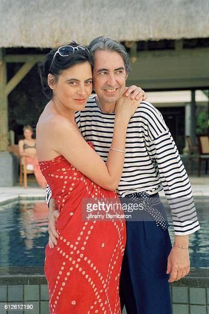 French model Ines de La Fressange who is currently pregnant her husband Luigi d'Urso on vacation in Mauritius