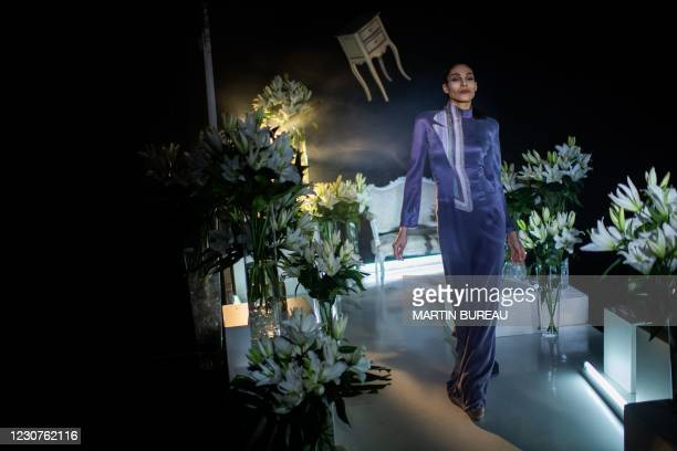 French model Sheherazade Dakhlaoui takes part in the shooting of a film to present French fashion designer Julien Fournie's Spring-Summer 2021...