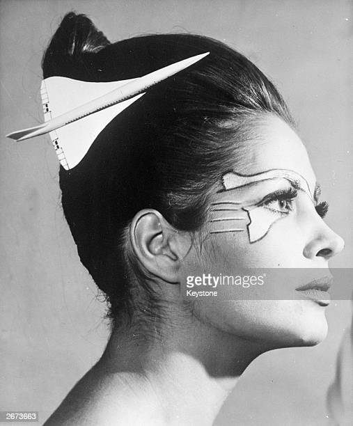 French model with a hairstyle and matching make-up based on Concorde, May 24, 1969.
