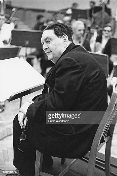 French modernist composer and teacher Darius Milhaud at the BBC's Maida Vale Studios London 19th September 1969 He is conducting his own music and...