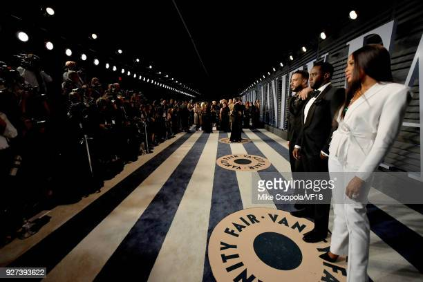 French Montan Sean Combs and Naomi Campbell attend the 2018 Vanity Fair Oscar Party hosted by Radhika Jones at Wallis Annenberg Center for the...
