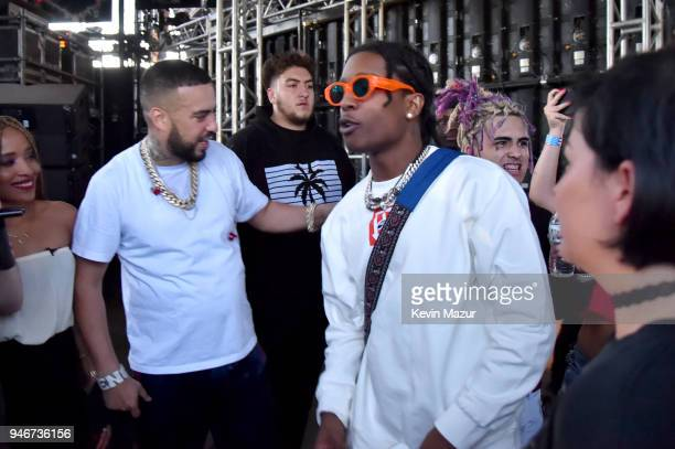 French Montana A$AP Rocky and Lil Pump pose backstage during the 2018 Coachella Valley Music and Arts Festival Weekend 1 at the Empire Polo Field on...
