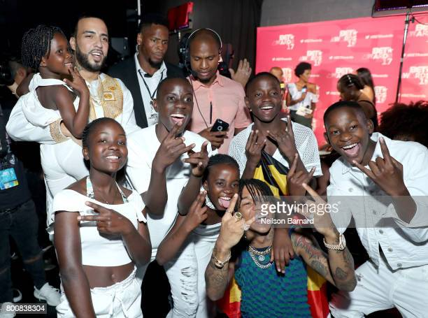 French Montana and dancers backstage at the 2017 BET Awards at Microsoft Theater on June 25 2017 in Los Angeles California