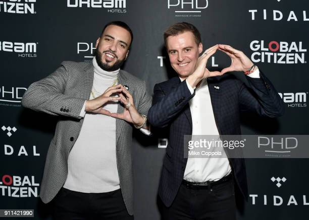 French Montana and Hugh Evans attend a preGrammy celebration cohosted by Global Citizen Tidal and French Montana at PhD Rooftop Lounge at Dream...