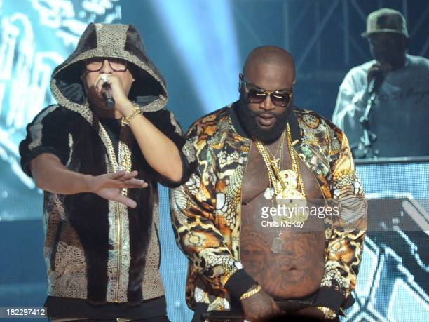 French Montana and Rick Ross perform during the BET Hip Hop Awards 2013 at the Boisfeuillet Jones Atlanta Civic Center on September 28 2013 in...