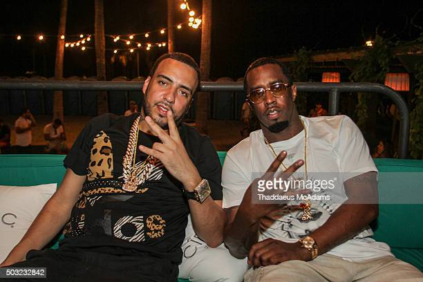 French Montana and Sean Diddy Combs at Sean Diddy Combs Pool Party at Kimpton Surfcomber Hotel on January 2 2016 in Miami Beach Florida