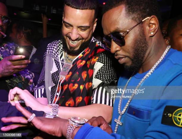 French Montana and Sean Diddy Combs attend Rick Ross Diddy The Big Game Weekend 2020 at Cameo on January 31 2020 in Miami Florida