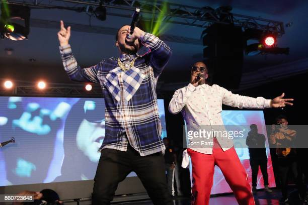 French Montana and Sean 'Diddy' Combs perform on stage at the 2017 REVOLT Music Conference Chairman's Welcome Ceremony at Eden Roc Hotel on October...