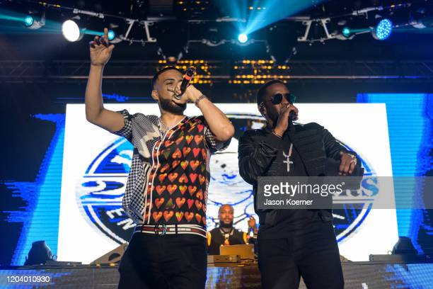 French Montana and Sean Diddy Combs perform onstage during Shaq's Fun House at Mana Wynwood Convention Center on January 31 2020 in Miami Florida