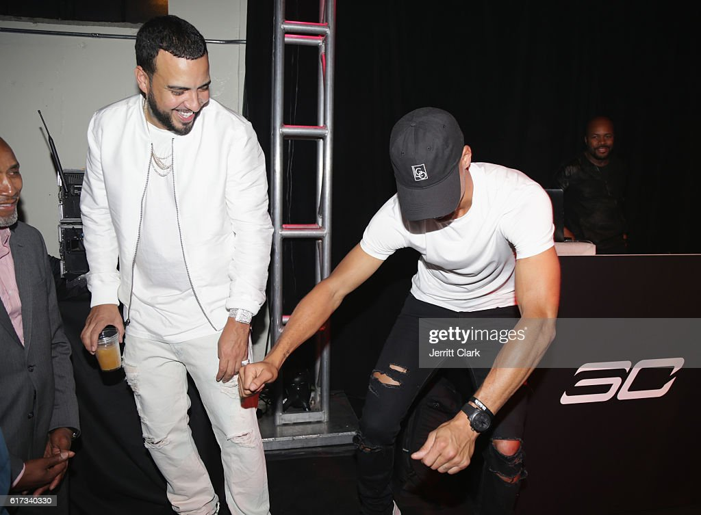 French Montana and Stephen Curry attend the Under Armour Curry 3 Launch at Skylight Powerhouse on October 22, 2016 in the Bay Area, California.