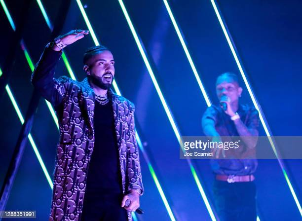 French Montana and Swae Lee perform onstage during Mike Tyson vs Roy Jones Jr. Presented by Triller at Staples Center on November 28, 2020 in Los...