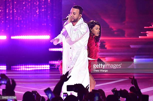 French Montana and Teyana Taylor performs onstage during the VH1 Hip Hop Honors All Hail The Queens at David Geffen Hall on July 11 2016 in New York...