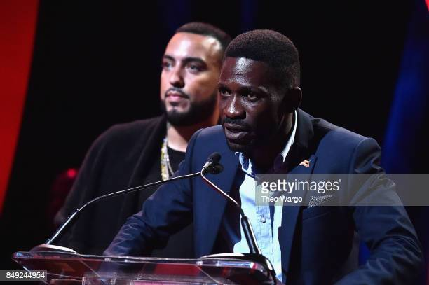 French Montana and Ugandan MP Bobi Wine during Global Citizen Live at NYU Skirball Center on September 18 2017 in New York City