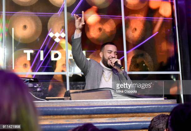 French Montana attends a preGrammy celebration cohosted by Global Citizen Tidal and French Montana at PhD Rooftop Lounge at Dream Downtown on January...