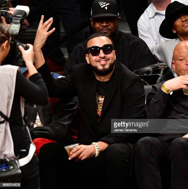 French Montana attends the Cleveland Cavaliers Vs Brooklyn Nets game at Barclays Center on October 25 2017 in New York City