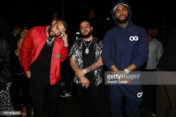 "French Montana, Dave East and Belly attend Belly's ""Immigrant"" Album Release Dinner at Vandal on October 11, 2018 in New York City."