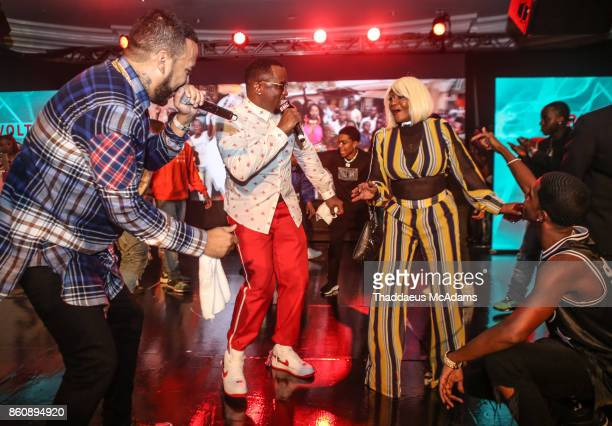 French Montana Diddy Janice Combs and King Combs Performing at Eden Roc Hotel on October 12 2017 in Miami Beach Florida