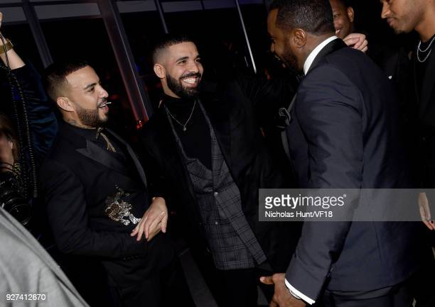 French Montana Drake and P Diddy attend the 2018 Vanity Fair Oscar Party hosted by Radhika Jones at Wallis Annenberg Center for the Performing Arts...