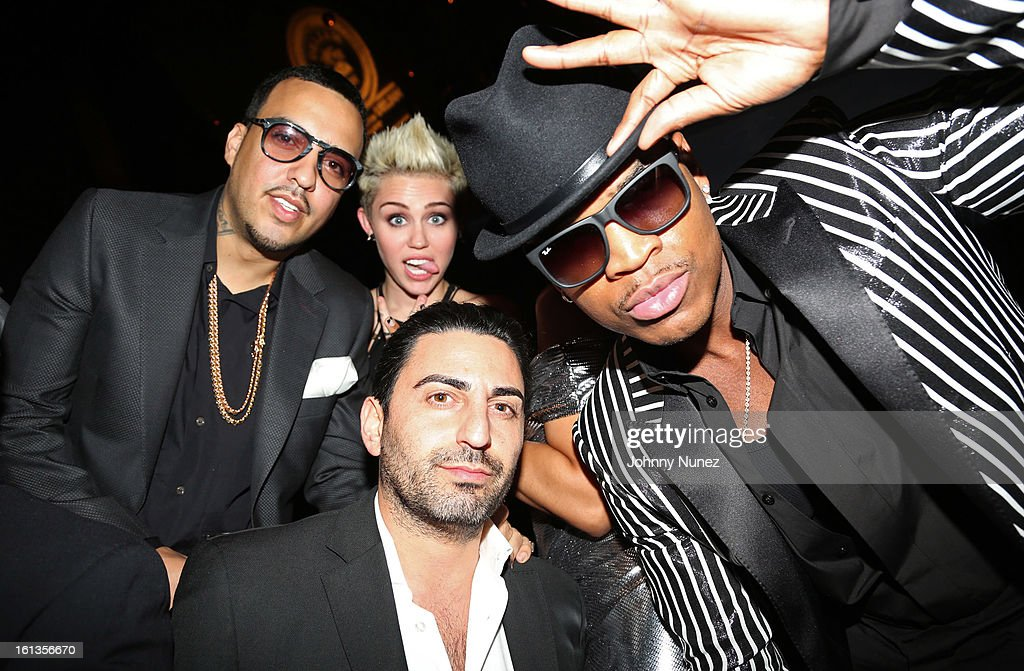 French Montana, Miley Cyrus, Sam Keywanfar and Ne-Yo attend Compound Entertainment And Malibu Red GRAMMY Midnight Brunch 2013 at Bagatelle/STK on February 9, 2013 in West Hollywood, California.