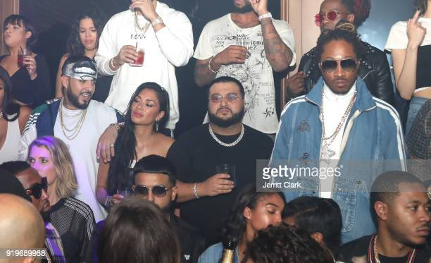French Montana Nicole Scherzinger Cash and Future attend Under Armour's UA HOVR House LA Media and Influencer Event on February 16 2018 in Beverly...