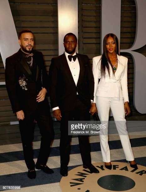 French Montana PDiddy and Naomi Campbell attend the 2018 Vanity Fair Oscar Party hosted by Radhika Jones at Wallis Annenberg Center for the...