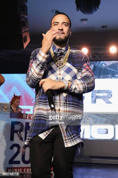 French Montana performs on stage at the 2017 REVOLT Music Conference Chairman's Welcome Ceremony at Eden Roc Hotel on October 12 2017 in Miami Beach...