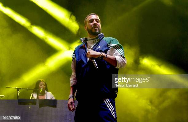 French Montana performs onstage during adidas Creates 747 Warehouse St an event in basketball culture on February 16 2018 in Los Angeles California