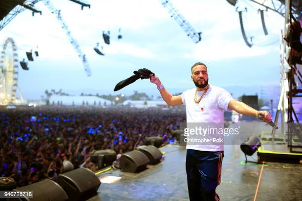 French Montana performs onstage during the 2018 Coachella Valley Music and Arts Festival Weekend 1 at the Empire Polo Field on April 15 2018 in Indio...