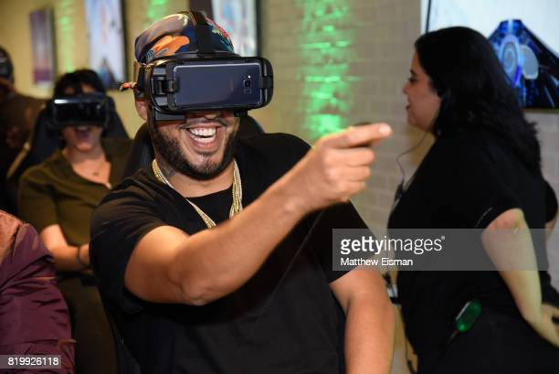 French Montana rides the 4D VR roller coaster at Samsung's Made for Summer Series Live at 837 at Samsung 837 on July 20 2017 in New York City