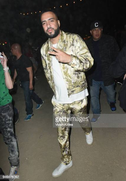 French Montana stops by the Batiste Dry Shampoo Braid Bar at The Levi's Brand Presents Neon Carnival with Tequila Don Julio on April 14 2018 in...