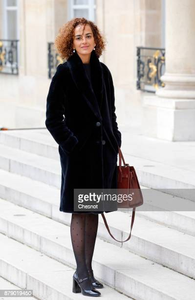 French Moroccan writer Leila Slimani arrives for a meeting as part of the International Day for the Elimination of Violence against Women at the...