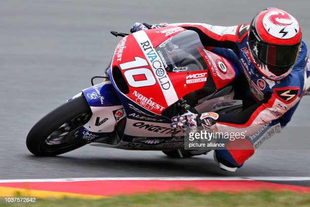 French Moto3 driver Alexis Masbou of team OngettaRivacold competes during the qualifying of the Road Racing World Championship's German Grand Prix at...