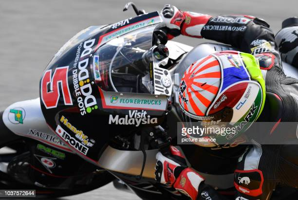French MotoGP driver Johann Zarco of the Ajo Motorsport Team drives on the course during the qualifying at Motorcycling World Championships Grand...