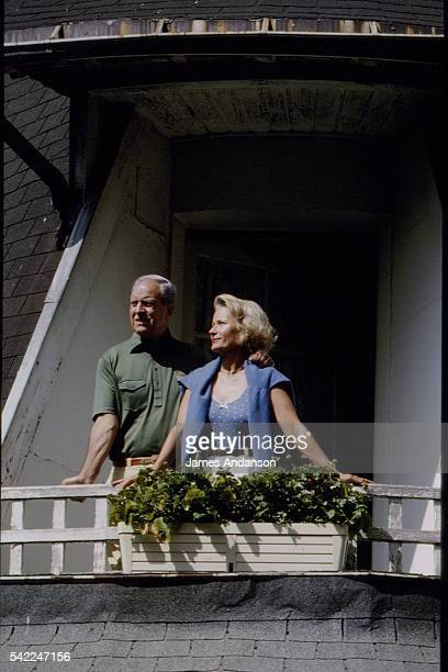 French mountaineer and sports administrator Maurice Herzog with his wife Elisabeth on holiday in Chamonix