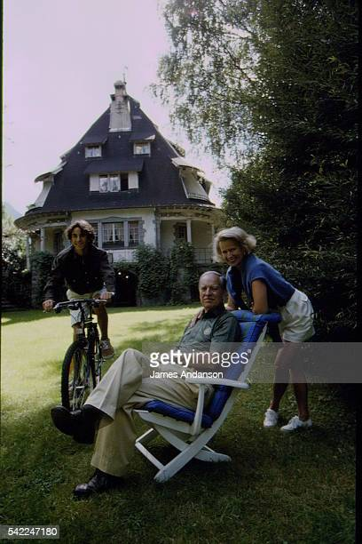French mountaineer and sports administrator Maurice Herzog with his wife Elisabeth and son Mathias on holiday in Chamonix
